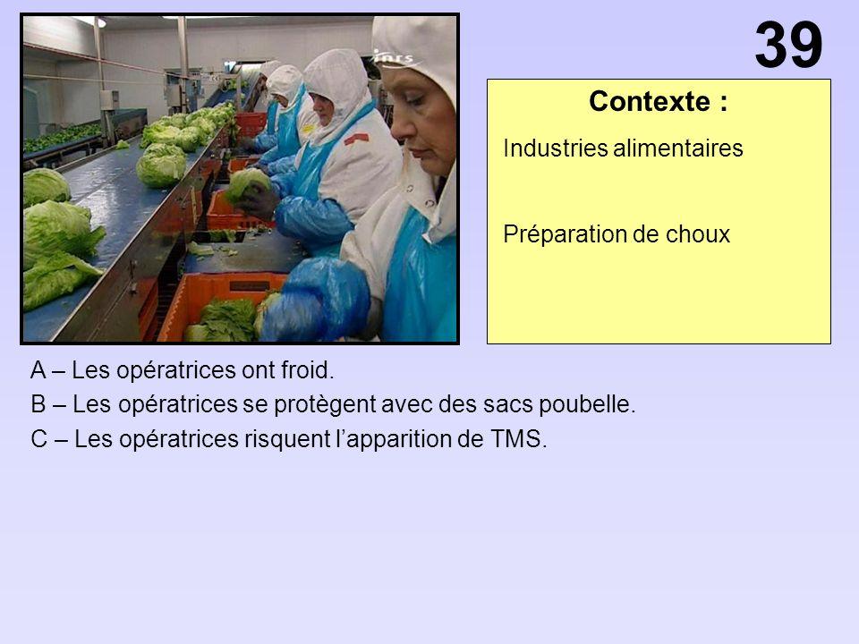 39 Contexte : Industries alimentaires Préparation de choux