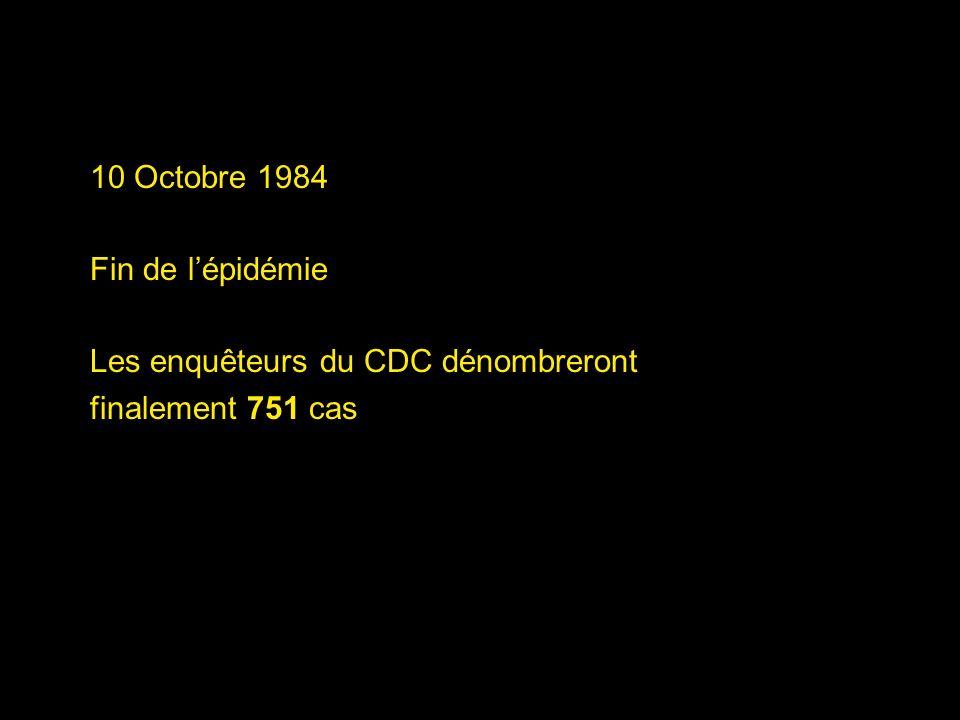 10 Octobre 1984 Fin de l'épidémie Les enquêteurs du CDC dénombreront finalement 751 cas