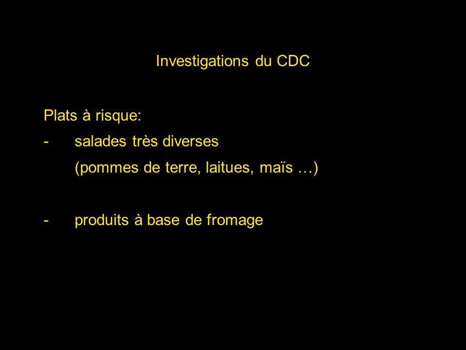 Investigations du CDC Plats à risque: salades très diverses.