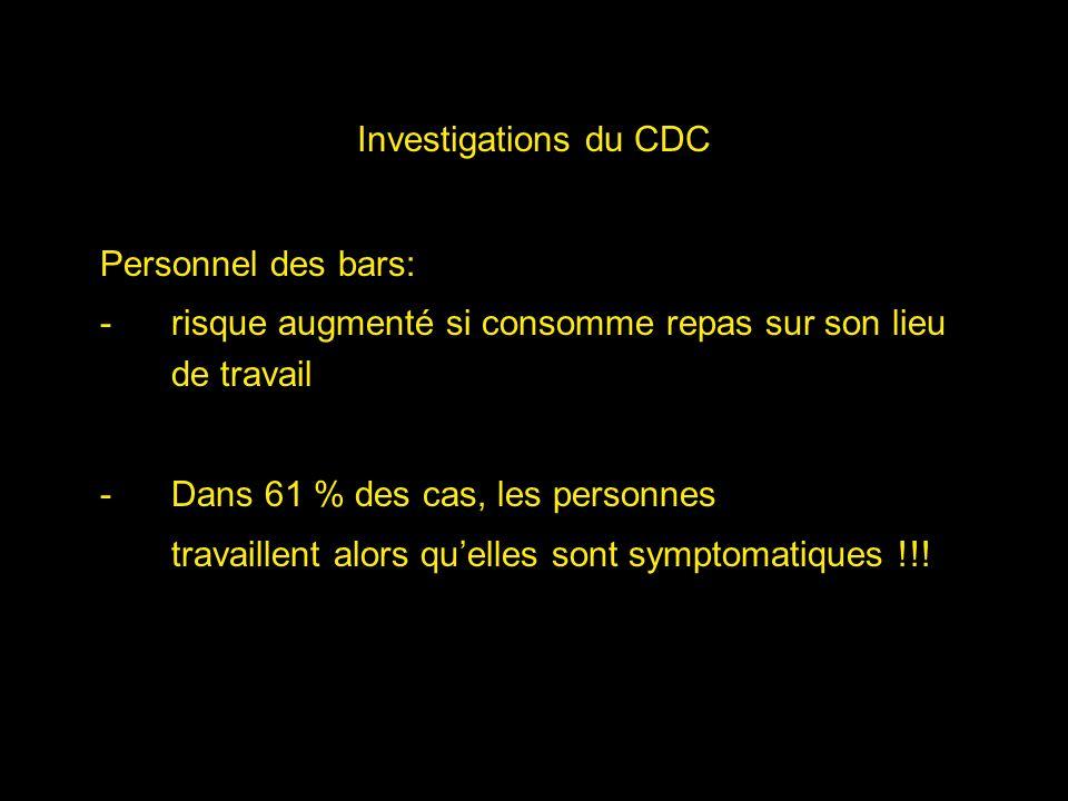 Investigations du CDC Personnel des bars: risque augmenté si consomme repas sur son lieu de travail.