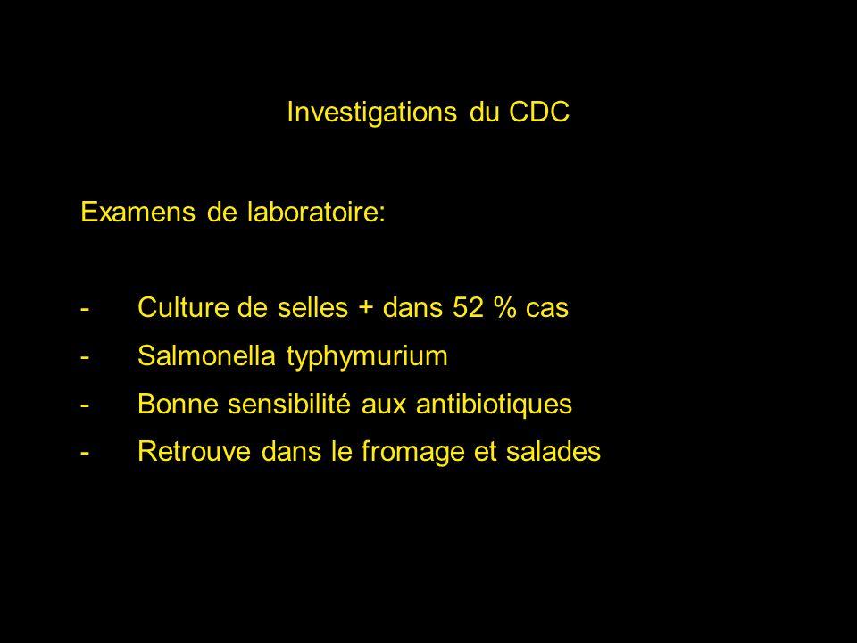 Investigations du CDC Examens de laboratoire: Culture de selles + dans 52 % cas. Salmonella typhymurium.