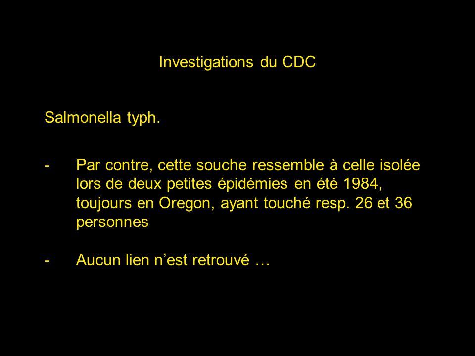 Investigations du CDC Salmonella typh.