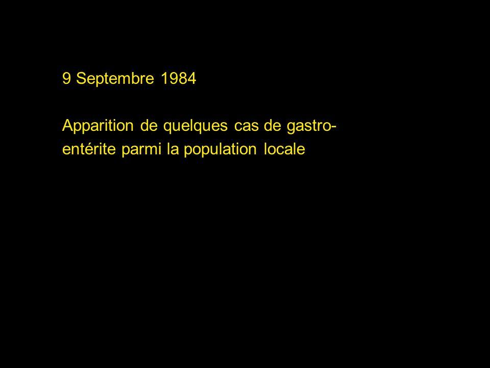 9 Septembre 1984 Apparition de quelques cas de gastro- entérite parmi la population locale