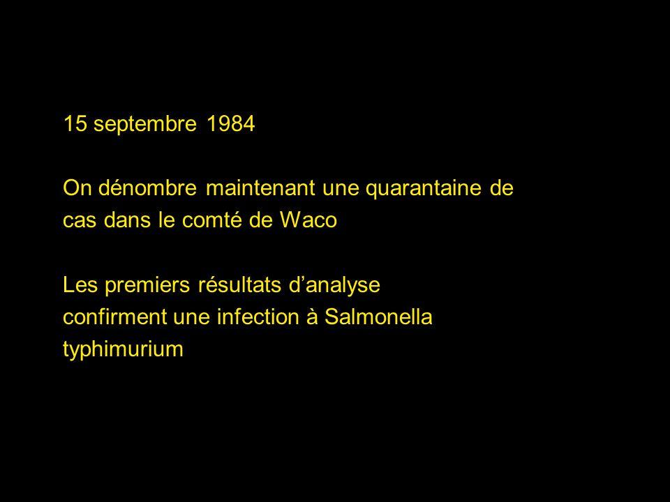 15 septembre 1984 On dénombre maintenant une quarantaine de. cas dans le comté de Waco. Les premiers résultats d'analyse.