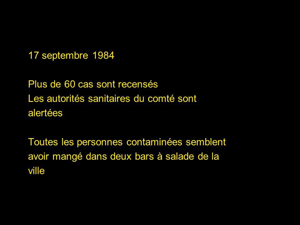 17 septembre 1984 Plus de 60 cas sont recensés. Les autorités sanitaires du comté sont. alertées.