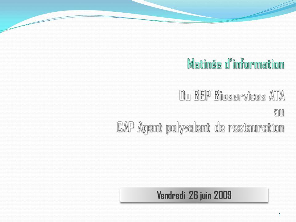 Matinée d'information Du BEP Bioservices ATA au CAP Agent polyvalent de restauration