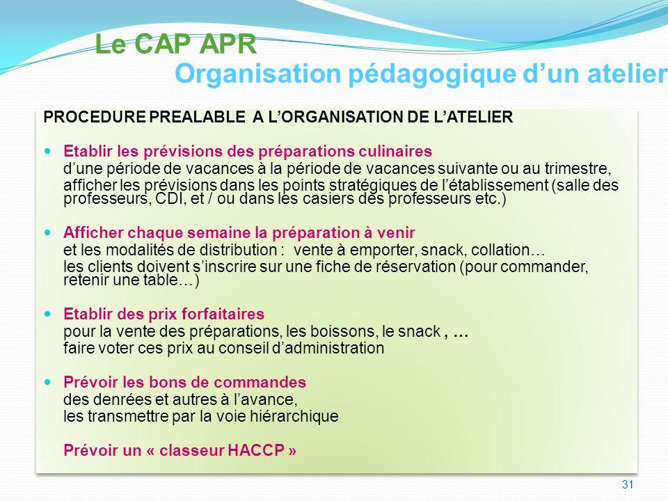 Le CAP APR Organisation pédagogique d'un atelier