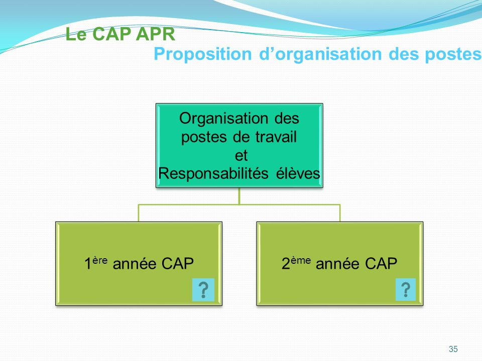 Le CAP APR Proposition d'organisation des postes