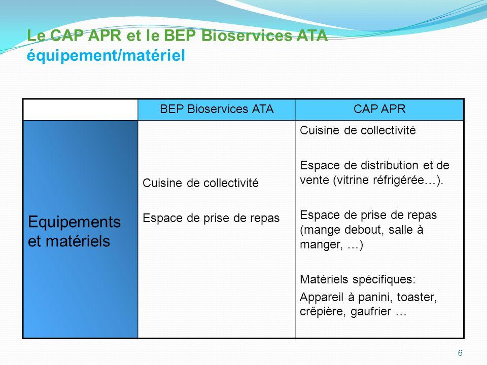 Le CAP APR et le BEP Bioservices ATA équipement/matériel