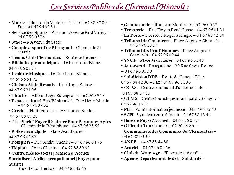 Les Services Publics de Clermont l Hérault :