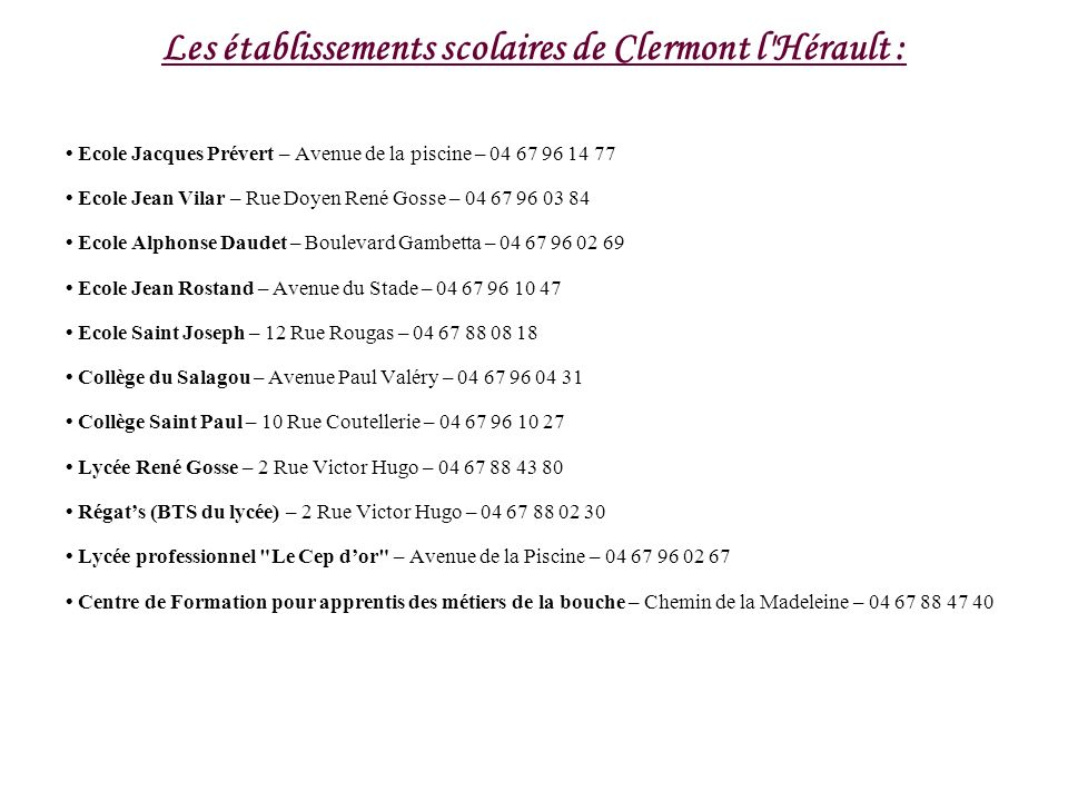 Les établissements scolaires de Clermont l Hérault :