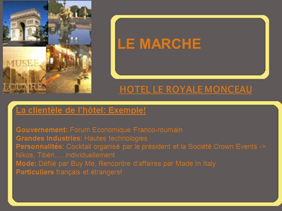 LE MARCHE HOTEL LE ROYALE MONCEAU La clientèle de l'hôtel: Exemple!