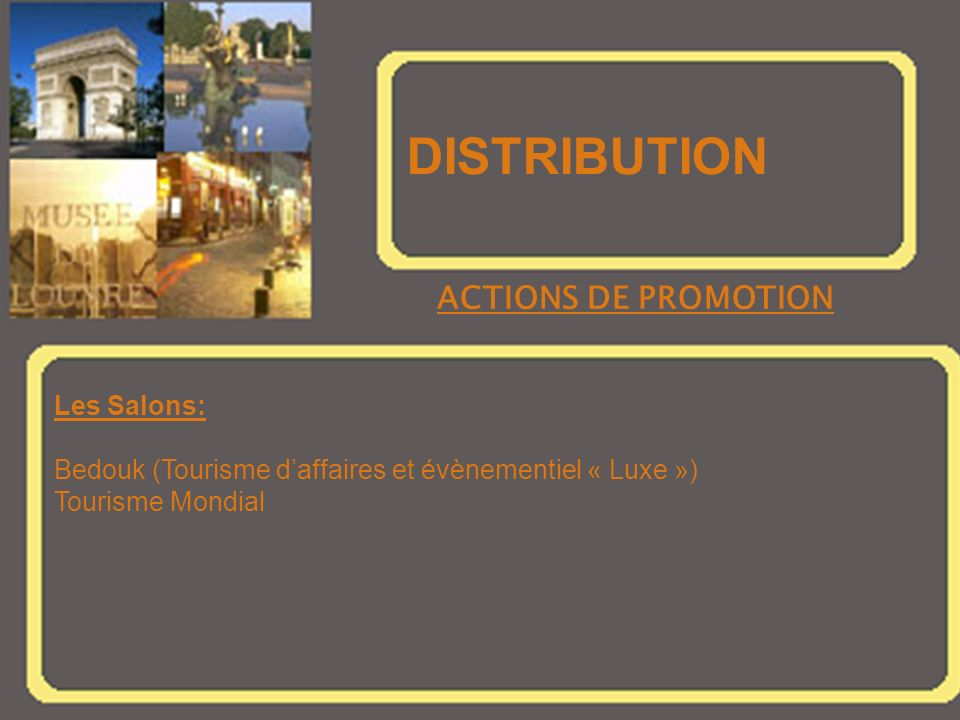DISTRIBUTION ACTIONS DE PROMOTION Les Salons: