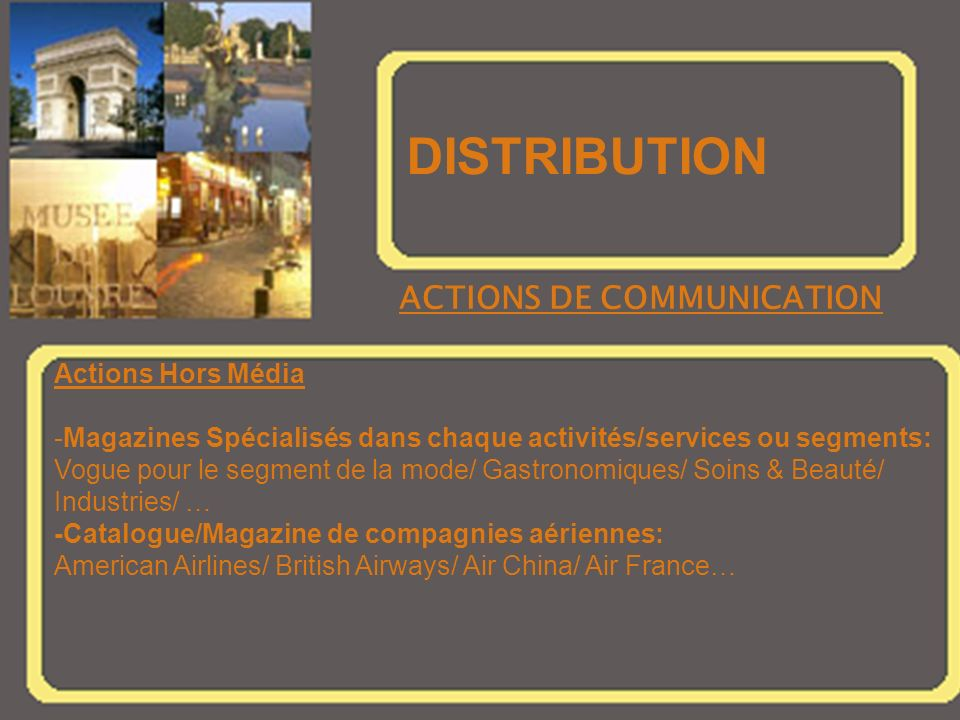 DISTRIBUTION ACTIONS DE COMMUNICATION Actions Hors Média
