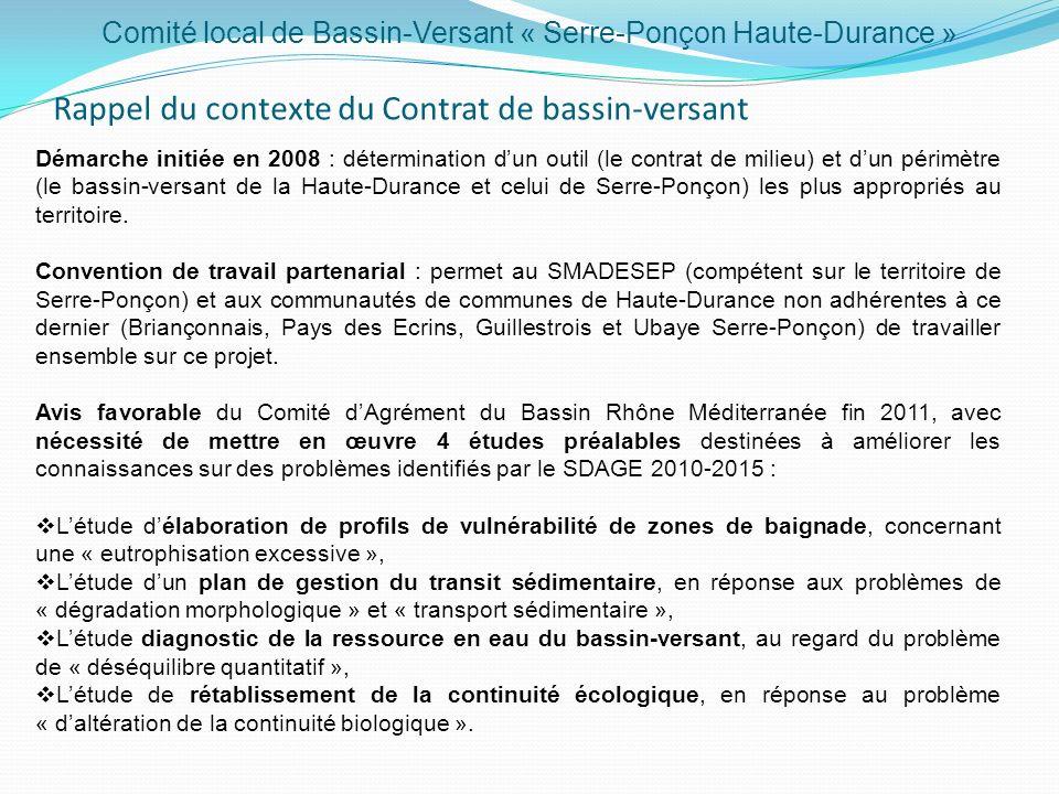 Rappel du contexte du Contrat de bassin-versant