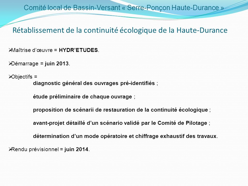 Rétablissement de la continuité écologique de la Haute-Durance
