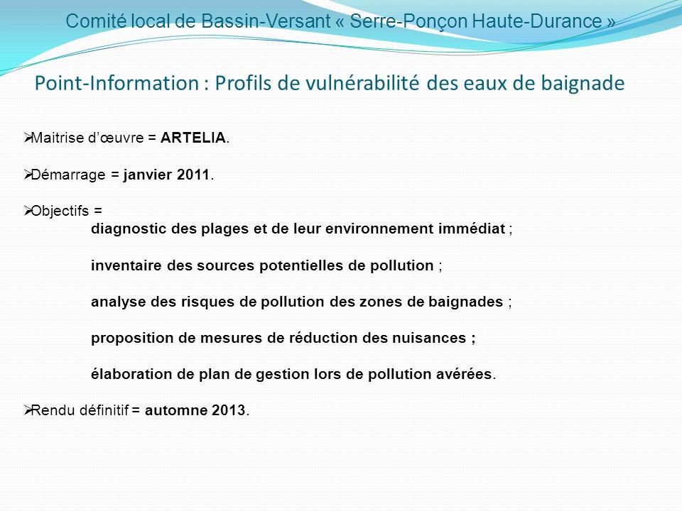 Point-Information : Profils de vulnérabilité des eaux de baignade