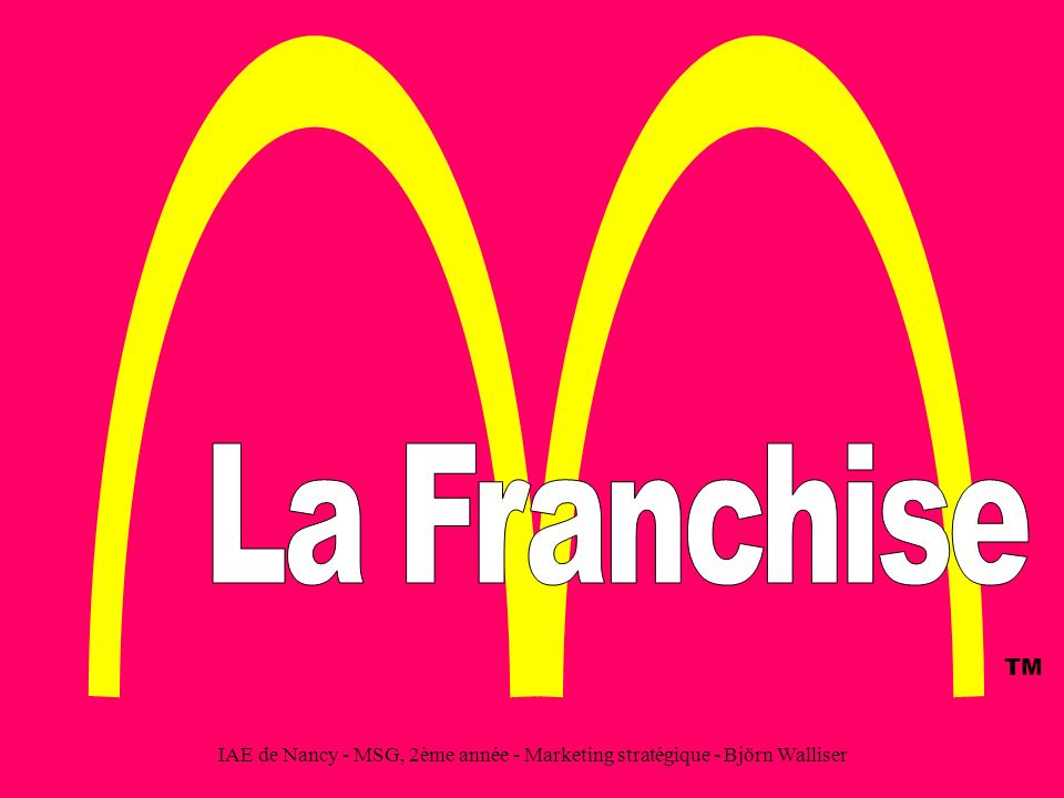 La Franchise TM IAE de Nancy - MSG, 2ème année - Marketing stratégique - Björn Walliser