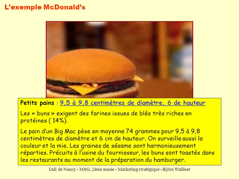 L'exemple McDonald's Petits pains : 9,5 à 9,8 centimètres de diamètre, 6 de hauteur.