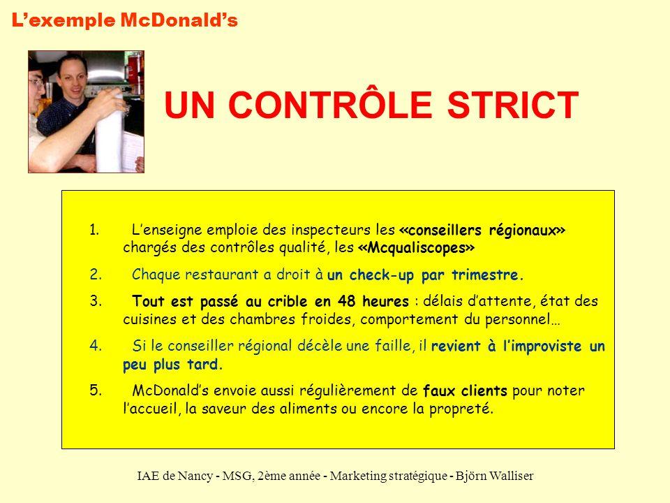 UN CONTRÔLE STRICT L'exemple McDonald's