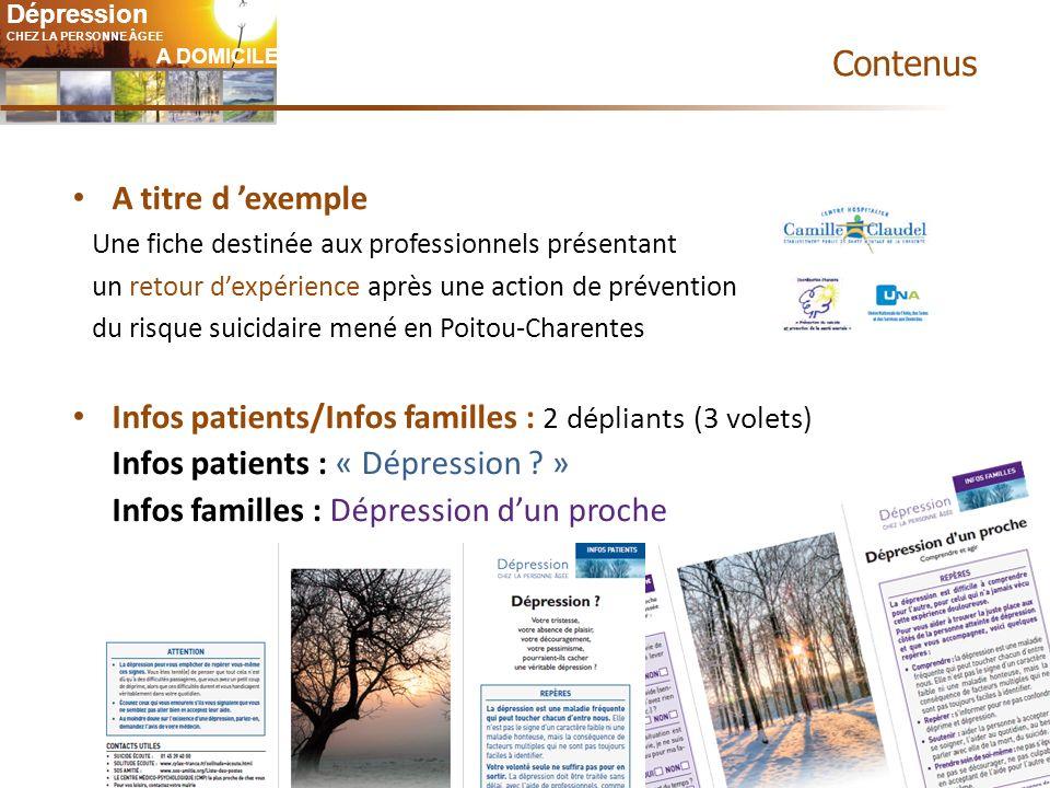 Infos patients/Infos familles : 2 dépliants (3 volets)