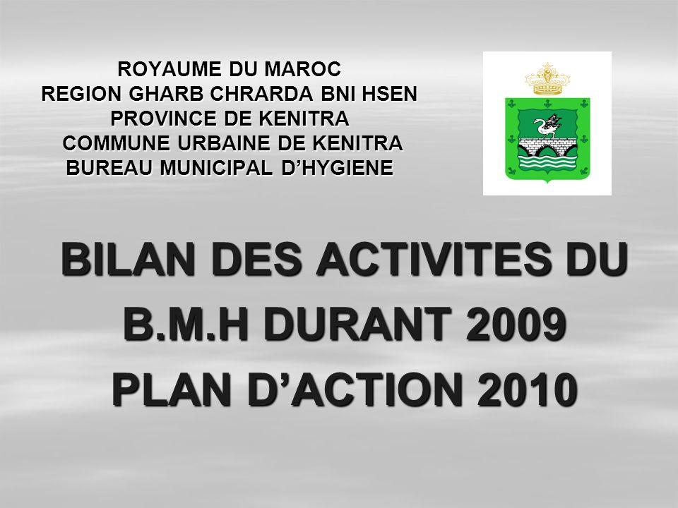 BILAN DES ACTIVITES DU B.M.H DURANT 2009 PLAN D'ACTION 2010