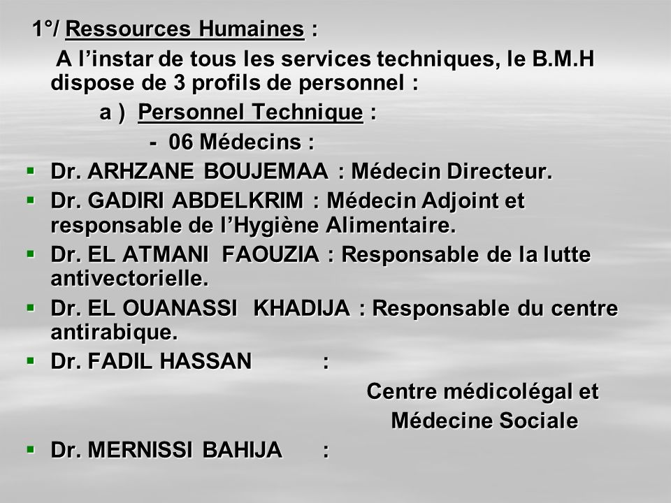1°/ Ressources Humaines :