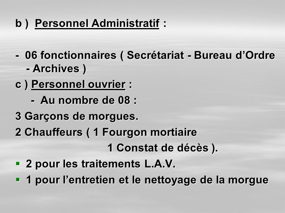 b ) Personnel Administratif :