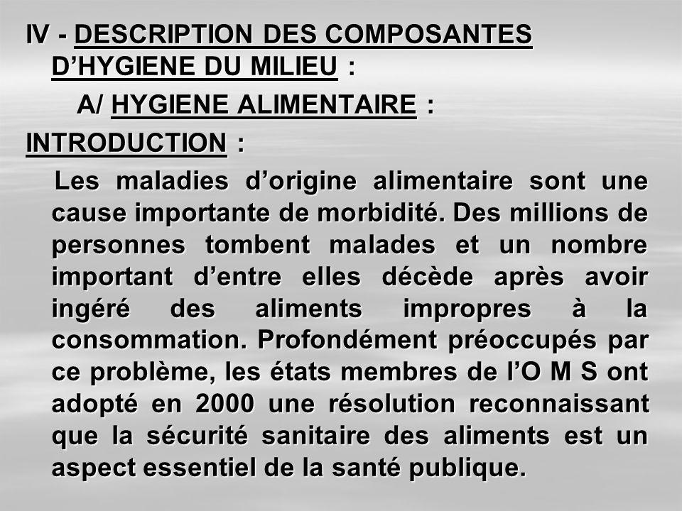 IV - DESCRIPTION DES COMPOSANTES D'HYGIENE DU MILIEU :