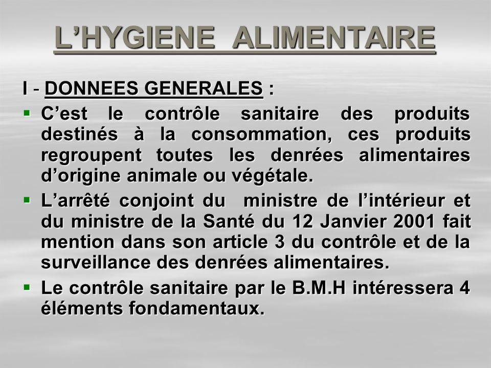 L'HYGIENE ALIMENTAIRE