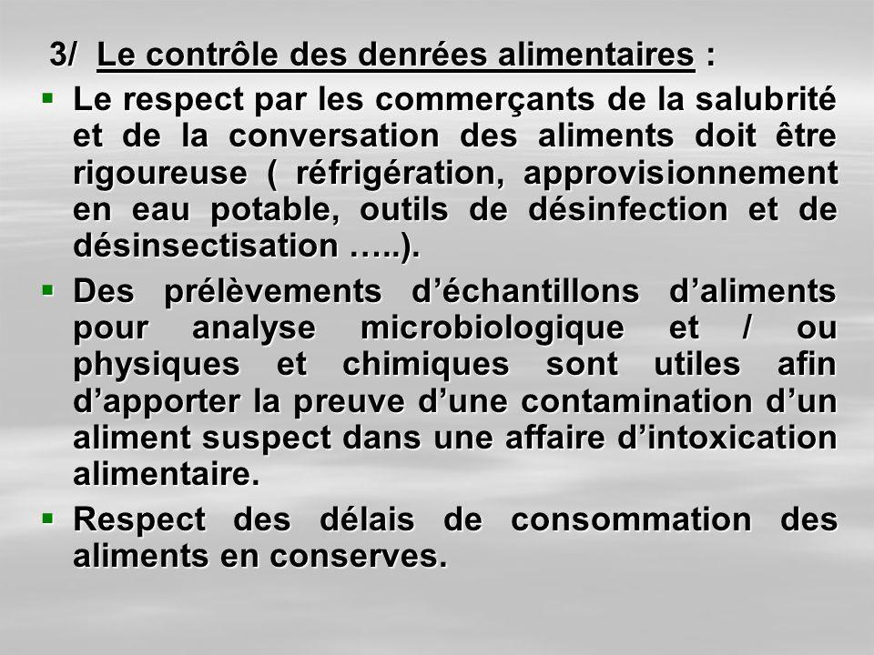 3/ Le contrôle des denrées alimentaires :