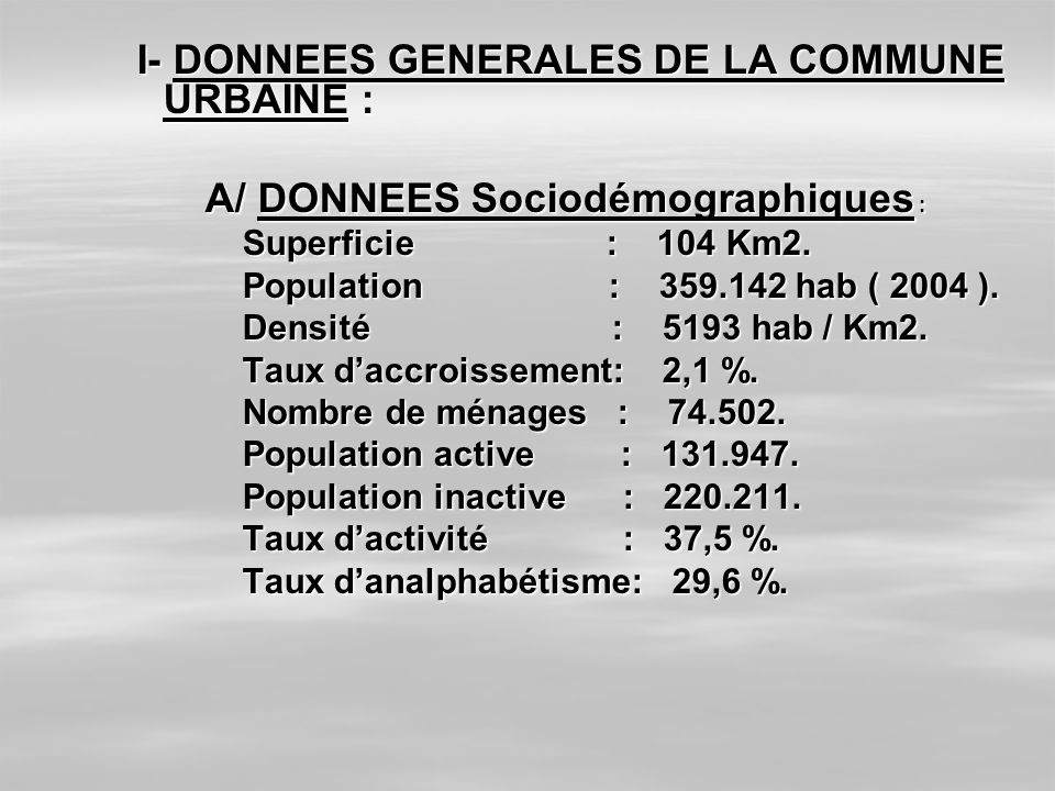 I- DONNEES GENERALES DE LA COMMUNE URBAINE :