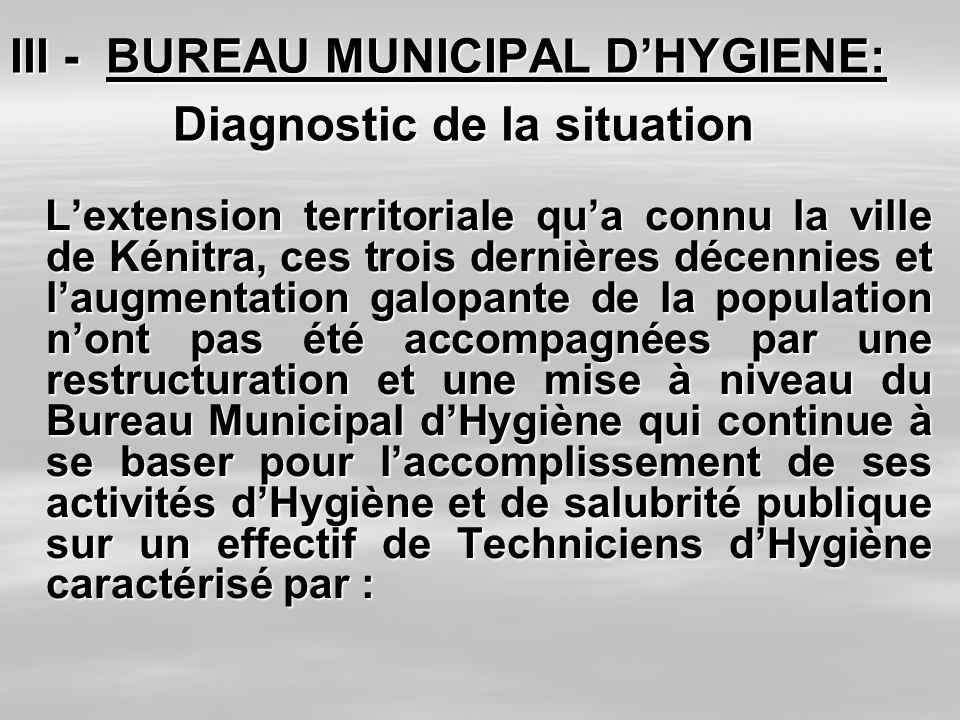III - BUREAU MUNICIPAL D'HYGIENE: Diagnostic de la situation