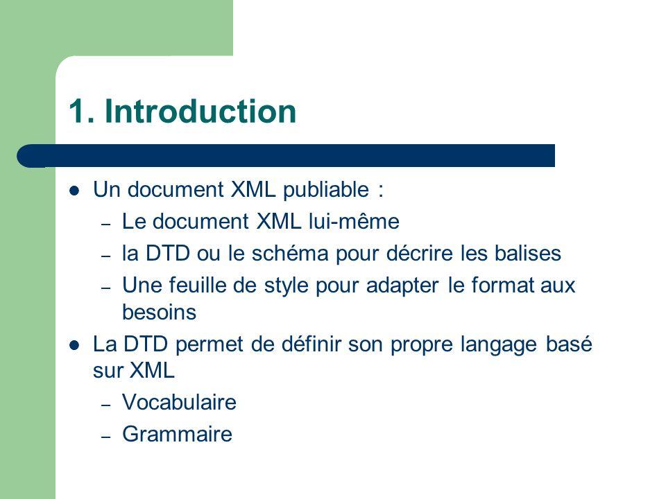 1. Introduction Un document XML publiable : Le document XML lui-même