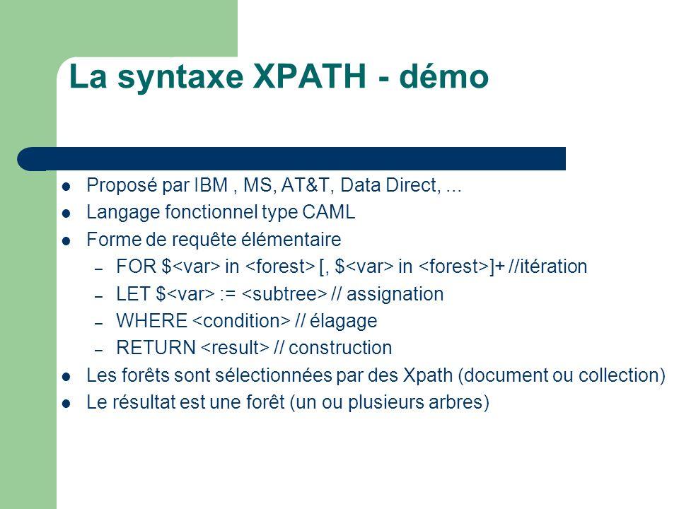 La syntaxe XPATH - démo Proposé par IBM , MS, AT&T, Data Direct, ...