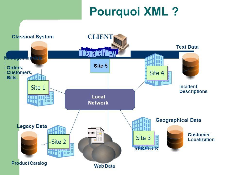 Pourquoi XML Integrated View CLIENT Site 4 Site 1 Site 3 Site 2