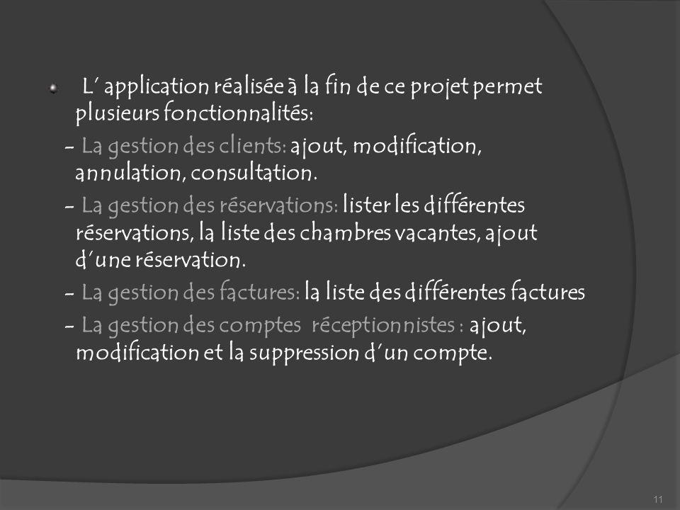 L' application réalisée à la fin de ce projet permet plusieurs fonctionnalités: