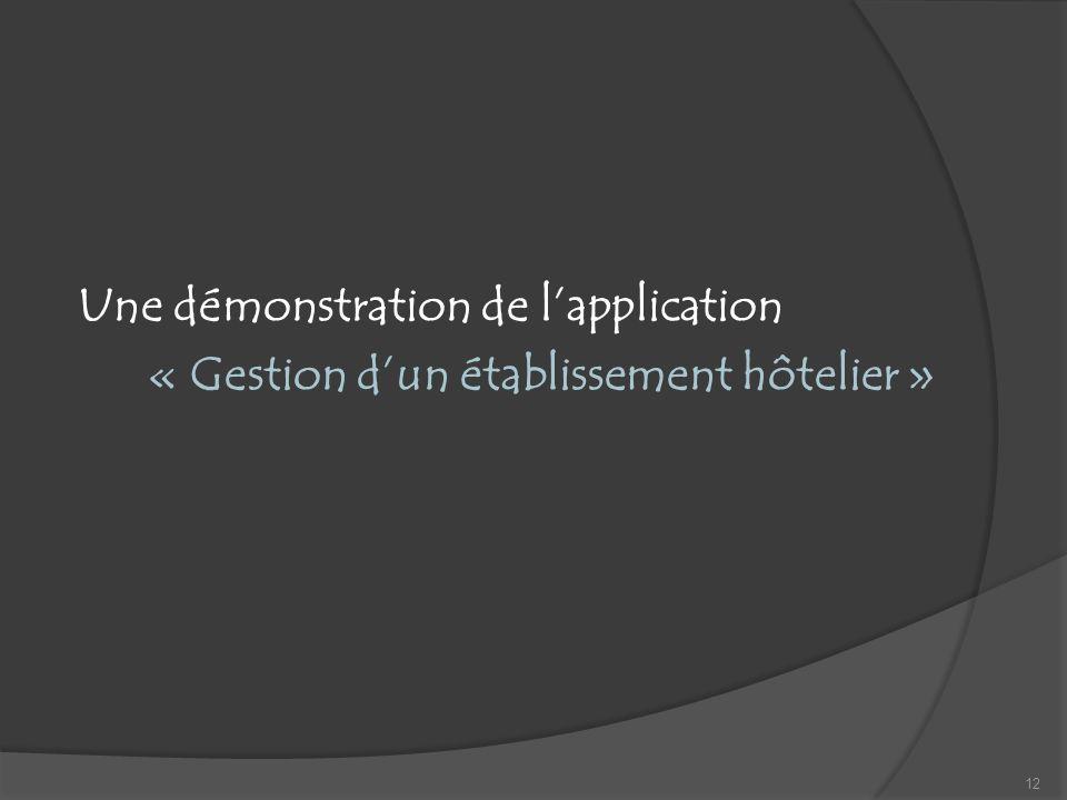 Une démonstration de l'application « Gestion d'un établissement hôtelier »