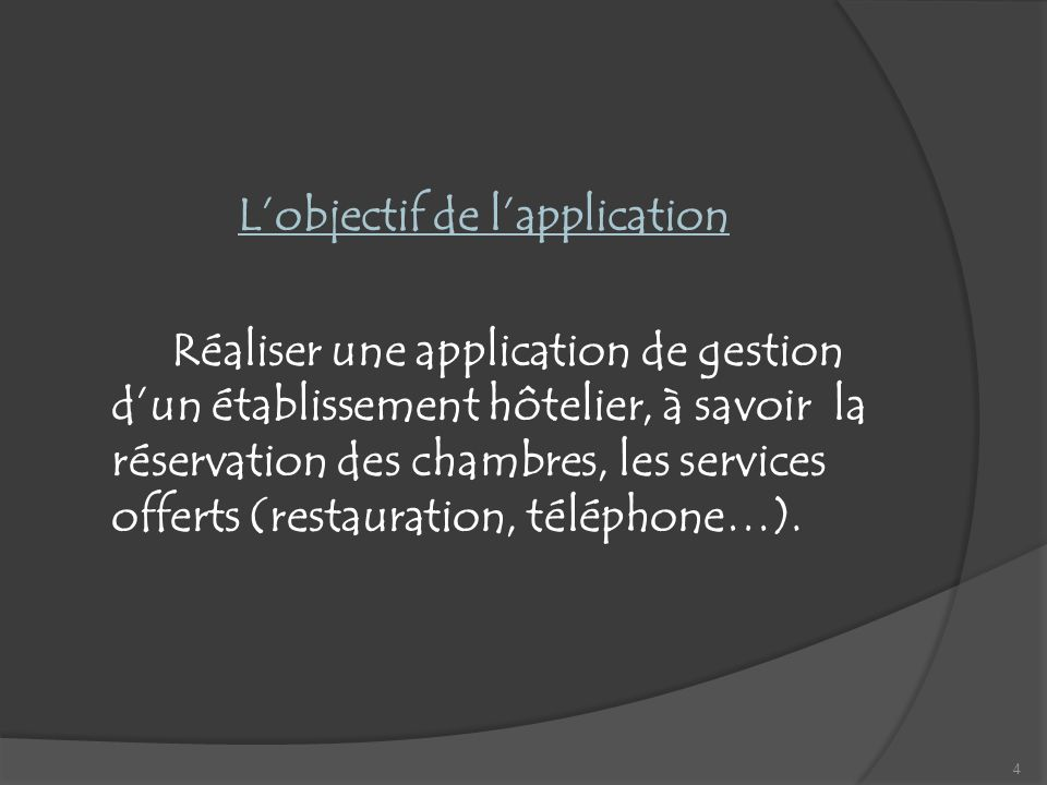 L'objectif de l'application