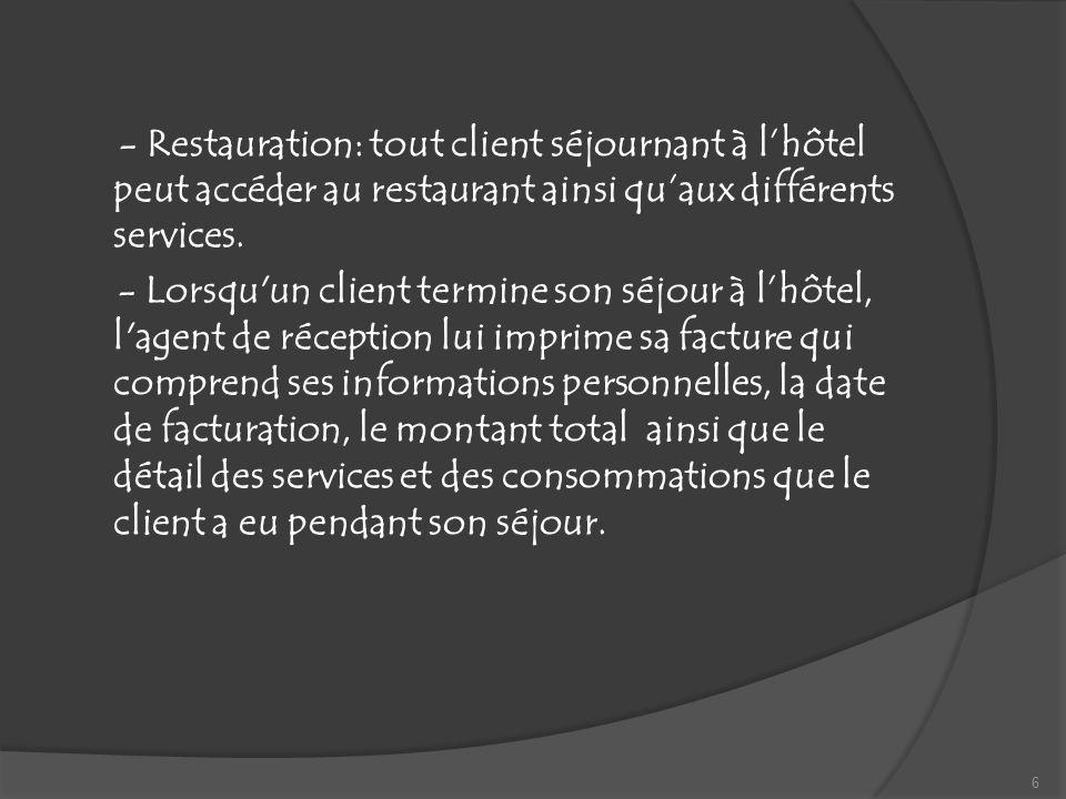 - Restauration: tout client séjournant à l'hôtel peut accéder au restaurant ainsi qu'aux différents services.