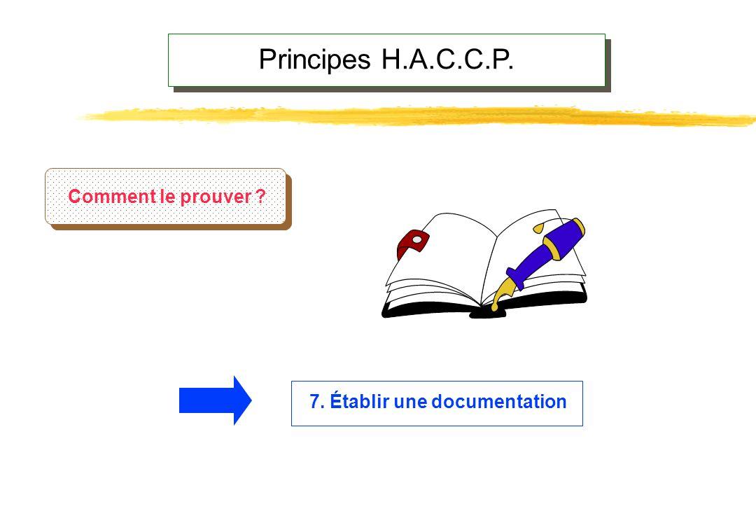 Principes H.A.C.C.P. Comment le prouver 7. Établir une documentation