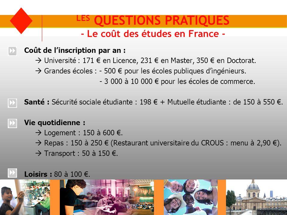 LES QUESTIONS PRATIQUES - Le coût des études en France -