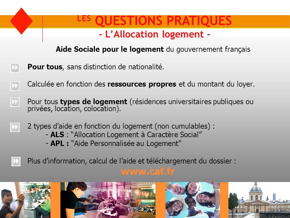 LES QUESTIONS PRATIQUES - L'Allocation logement -