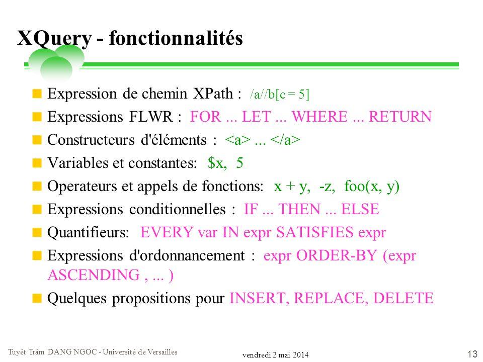 XQuery - fonctionnalités