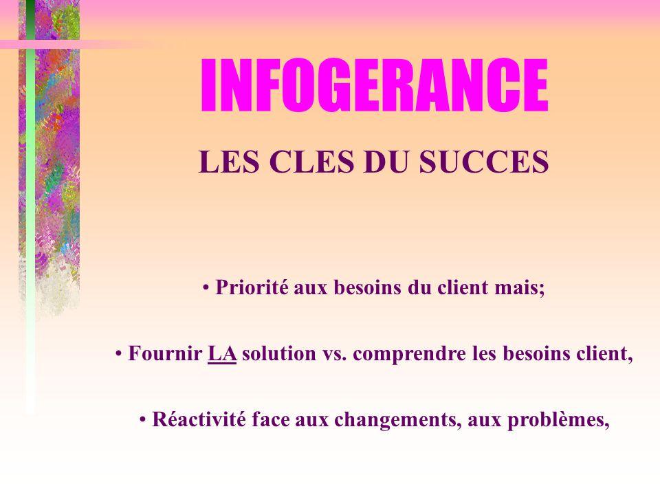 INFOGERANCE LES CLES DU SUCCES Priorité aux besoins du client mais;