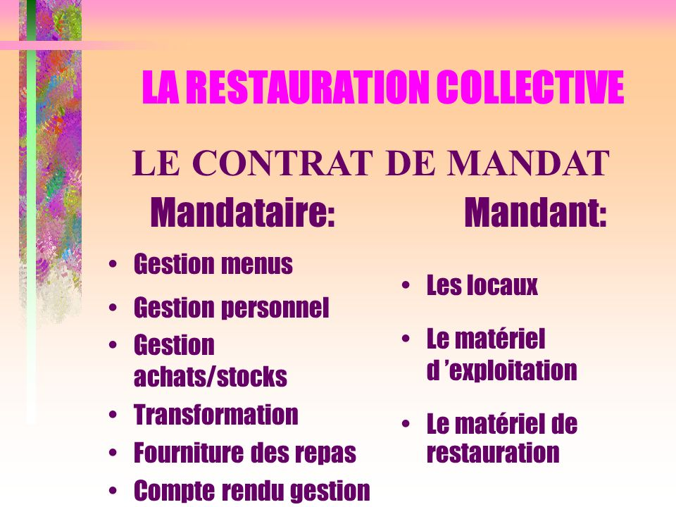 LA RESTAURATION COLLECTIVE