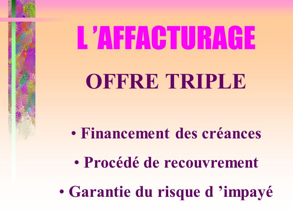 L 'AFFACTURAGE OFFRE TRIPLE Financement des créances