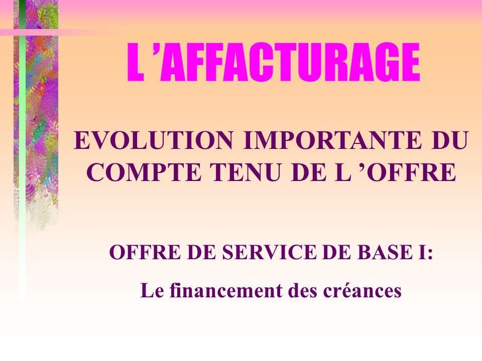 L 'AFFACTURAGE EVOLUTION IMPORTANTE DU COMPTE TENU DE L 'OFFRE