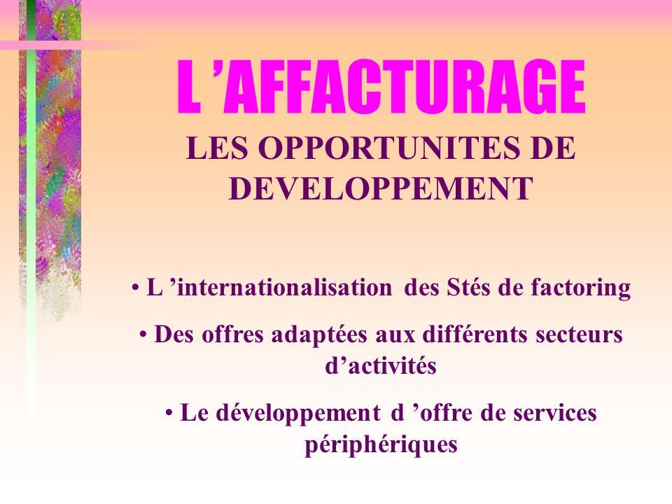 L 'AFFACTURAGE LES OPPORTUNITES DE DEVELOPPEMENT
