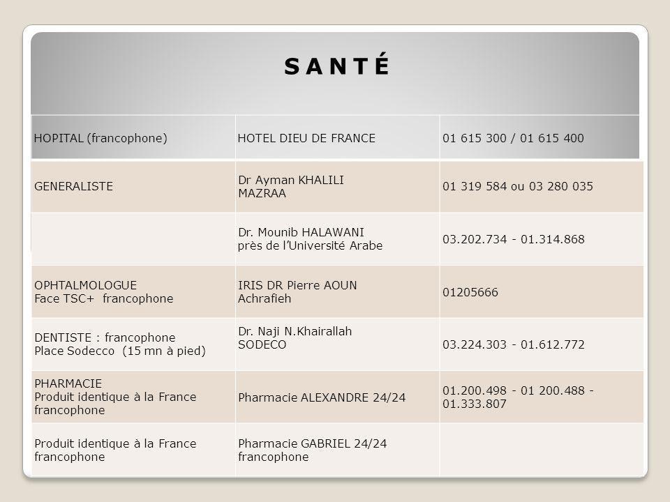 SANTÉ HOPITAL (francophone) HOTEL DIEU DE FRANCE